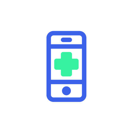 Mobile phone emergency call icon vector, filled flat sign, bicolor pictogram, green and blue colors. Symbol, logo illustration