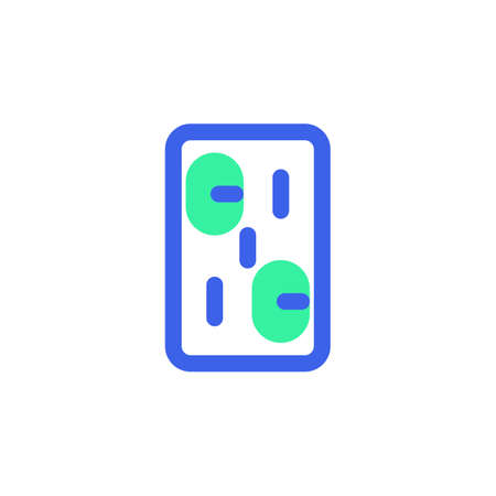 Pills blister pack icon vector, filled flat sign, bicolor pictogram, Medical capsule green and blue colors. Symbol, logo illustration