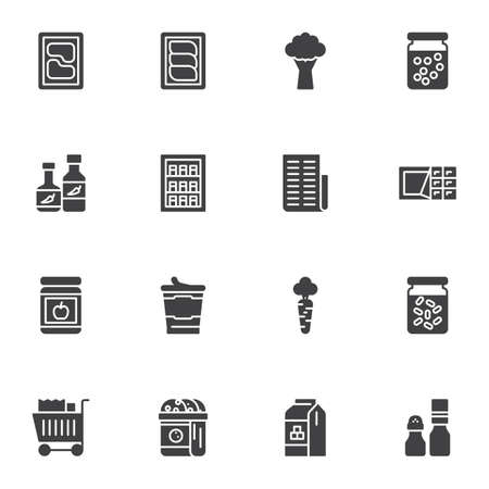 Grocery shopping vector icons set, modern solid symbol collection, filled style pictogram pack. Signs, logo illustration. Set includes icons as meat, vegetables, condiment spices, dessert and sweets Stock Illustratie