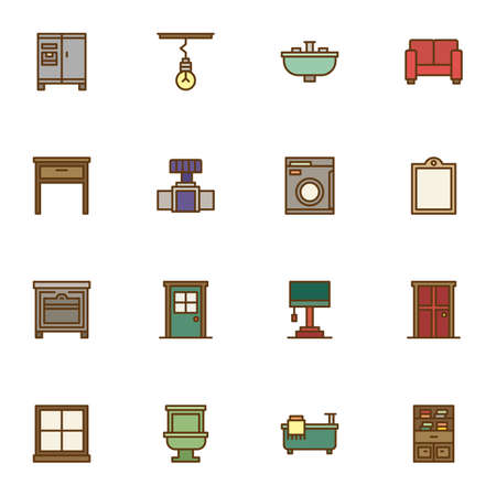 Interior furniture filled outline icons set, line vector symbol collection, linear colorful pictogram pack. Signs, illustration, Set includes icons as household equipment, sofa, bathtub, toilet