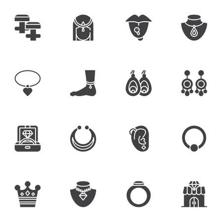 Fashionable jewelry collection, vector icons set, modern solid symbol collection, filled style pictogram pack. Signs, illustration. Set includes icons as diamond ring, earrings , accessories