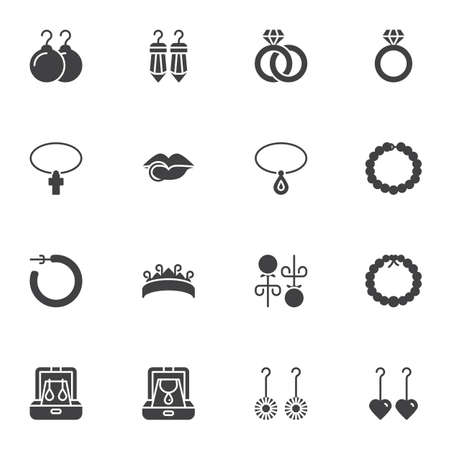 Jewelry collection vector icons set, modern solid symbol collection, filled style pictogram pack. Signs, illustration. Set includes icons as earrings, wedding rings, diamond necklace, piercing