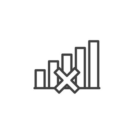 Signal lost line icon. Network not available linear style sign for mobile concept and web design. No signal outline vector icon. Symbol, logo illustration. Vector graphics Vettoriali