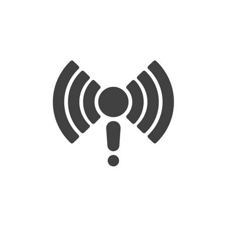 Wireless connection failed vector icon. No internet signal filled flat sign for mobile concept and web design. Wifi network problem glyph icon. Symbol, logo illustration. Vector graphics