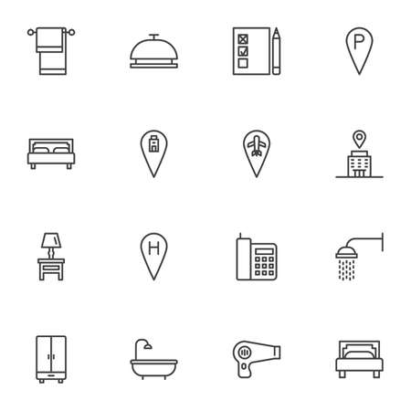 Hotel related line icons set, outline vector symbol collection, linear style pictogram pack. Signs, logo illustration. Set includes icons as reception bell, bed, hotel location, shower, bathroom 矢量图像