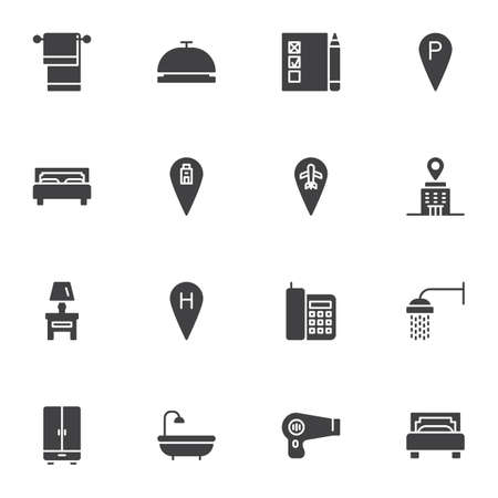 Hotel related vector icons set, modern solid symbol collection, filled style pictogram pack. Signs, logo illustration. Set includes icons as reception bell, bed, hotel location, shower, bathroom