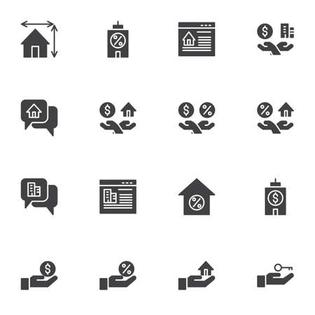 Real Estate vector icons set, modern solid symbol collection, filled style pictogram pack. Signs, logo illustration. Set includes icons as online apartment rent, property, percentage mortgage, house Illusztráció