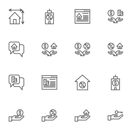 Real Estate line icons set, outline vector symbol collection, linear style pictogram pack. Signs, logo illustration. Set includes icons as online apartment rent, property, percentage mortgage, house