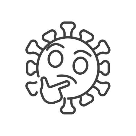 Thinking virus face line icon. linear style sign for mobile concept and web design. Coronavirus emoticon think outline vector icon. Symbol, illustration. Vector graphics