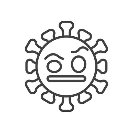 Virus Face with Raised Eyebrow line icon. linear style sign for mobile concept and web design. Angry coronavirus emoticon outline vector icon. Symbol,   illustration. Vector graphics