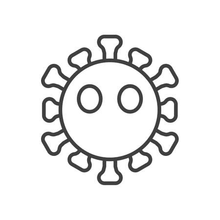 Virus Face Without Mouth line icon. linear style sign for mobile concept and web design. Mouthless coronavirus emoticon outline vector icon. Symbol, illustration. Vector graphics