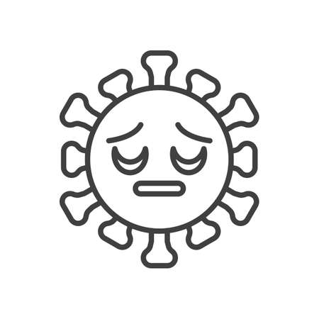 Virus Pensive Face line icon. linear style sign for mobile concept and web design. Sad coronavirus emoticon outline vector icon. Symbol, illustration. Vector graphics