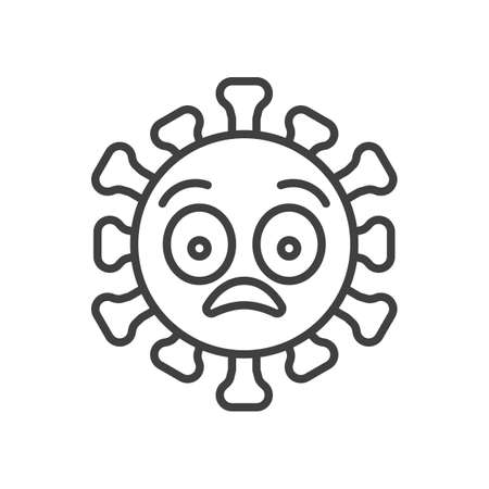 Virus flushed face line icon. linear style sign for mobile concept and web design. Shocked coronavirus emoticon outline vector icon. Symbol,   illustration. Vector graphics Çizim