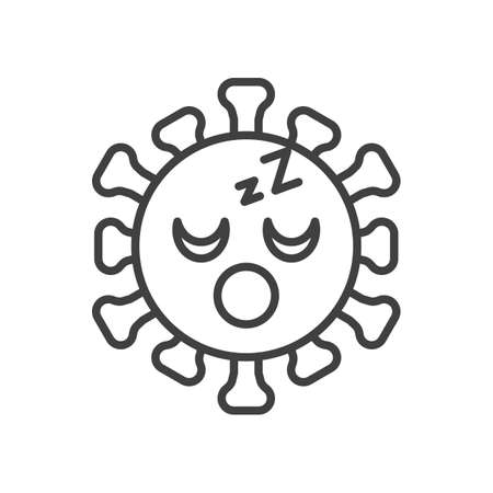 Virus Sleeping Face line icon. linear style sign for mobile concept and web design. Coronavirus emoticon sleep outline vector icon. Symbol,   illustration. Vector graphics