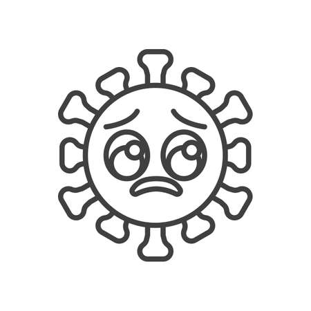 Virus Pleading Face line icon. linear style sign for mobile concept and web design. Unhappy coronavirus emoticon outline vector icon. Symbol,   illustration. Vector graphics