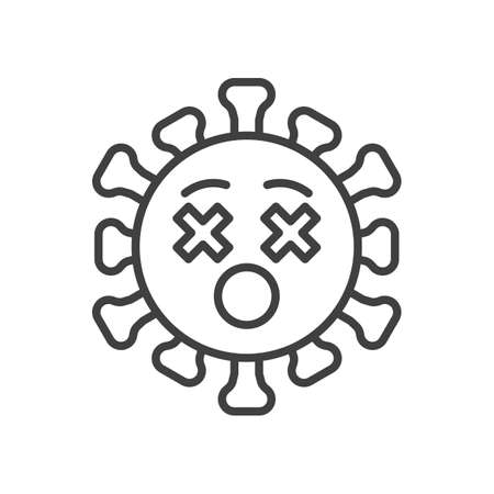 Virus Dizzy face line icon. linear style sign for mobile concept and web design. Coronavirus emoticon with crossed eyes outline vector icon. Symbol,   illustration. Vector graphics