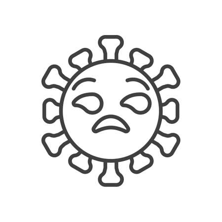 Virus unamused face line icon. linear style sign for mobile concept and web design. Annoyed Coronavirus emoticon outline vector icon. Symbol,   illustration. Vector graphics