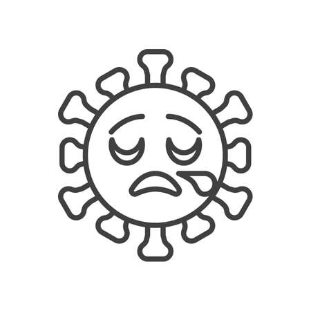 Virus sleepy face line icon. linear style sign for mobile concept and web design. Tired coronavirus emoticon outline vector icon. Symbol,   illustration. Vector graphics