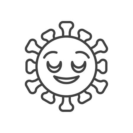 Virus Relieved Face line icon. linear style sign for mobile concept and web design. Happy coronavirus emoticon outline vector icon. Symbol,   illustration. Vector graphics