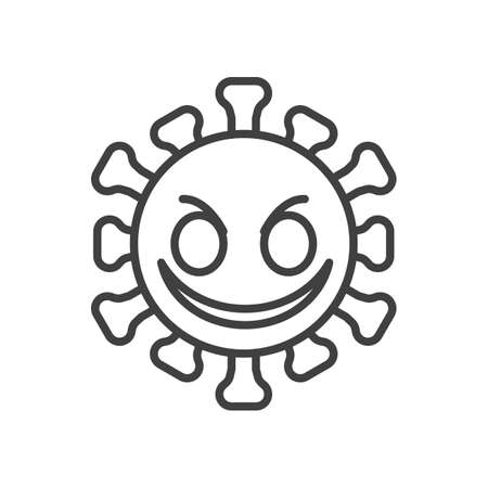 Smiling virus face line icon. linear style sign for mobile concept and web design. Angry coronavirus emoticon outline vector icon. Symbol,   illustration. Vector graphics