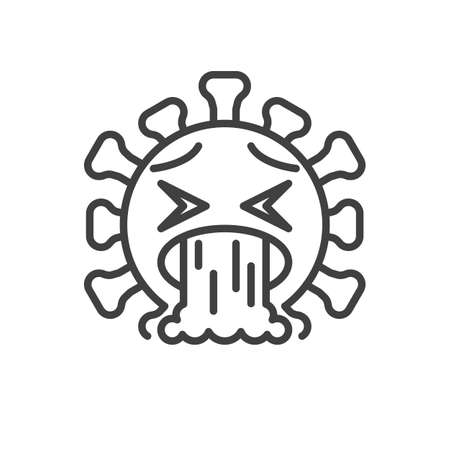 Vomiting emoji face line icon. linear style sign for mobile concept and web design. Nauseated coronavirus emoticon outline vector icon. Symbol, illustration. Vector graphics