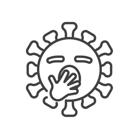Virus Yawning Face line icon. linear style sign for mobile concept and web design. Tired coronavirus emoticon outline vector icon. Symbol,   illustration. Vector graphics