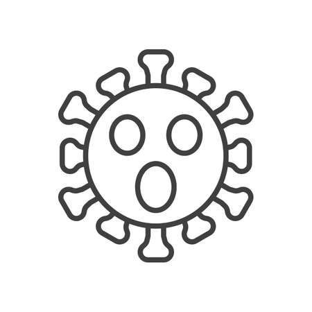 Virus Face with Open Mouth line icon. linear style sign for mobile concept and web design. Confused Coronavirus emoticon outline vector icon. Symbol, illustration. Vector graphics
