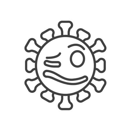 Woozy virus face line icon. linear style sign for mobile concept and web design. Drunk coronavirus emoticon outline vector icon. Symbol,   illustration. Vector graphics