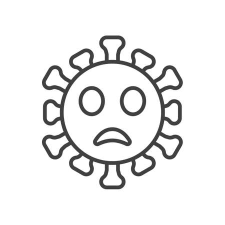 Frowning face with open mouth emoji line icon. linear style sign for mobile concept and web design. Gloomy coronavirus emoticon outline vector icon. Symbol,   illustration. Vector graphics