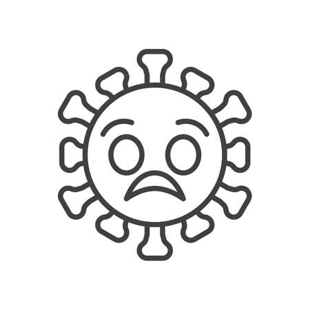 Worried virus face emoji line icon. linear style sign for mobile concept and web design. Coronavirus anxious emoticon outline vector icon. Symbol,   illustration. Vector graphics