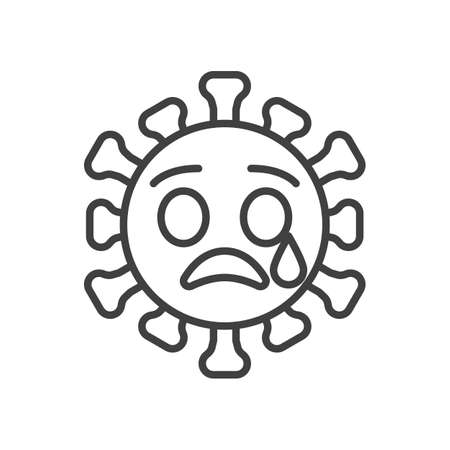 Crying virus face line icon. linear style sign for mobile concept and web design. Sad coronavirus emoticon outline vector icon. Symbol,   illustration. Vector graphics