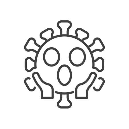 Virus Face Screaming in Fear line icon. linear style sign for mobile concept and web design. Confused coronavirus emoticon outline vector icon. Symbol,   illustration. Vector graphics Çizim
