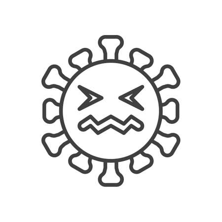 Confounded virus face line icon. linear style sign for mobile concept and web design. Annoyed coronavirus emoticon outline vector icon. Symbol,   illustration. Vector graphics