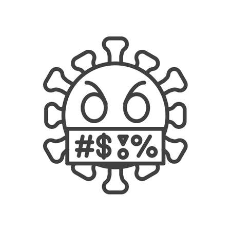 Virus face with symbols on mouth line icon. linear style sign for mobile concept and web design. Swearing coronavirus emoticon outline vector icon. Symbol,   illustration. Vector graphics