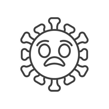 Anguished virus face line icon. linear style sign for mobile concept and web design. Shocked coronavirus emoticon outline vector icon. Symbol,   illustration. Vector graphics