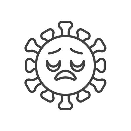 Virus disappointed face line icon. linear style sign for mobile concept and web design. Displeased coronavirus emoticon outline vector icon. Symbol,   illustration. Vector graphics