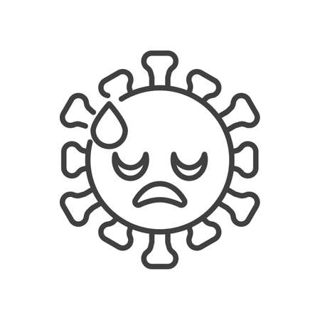 Downcast Face with Sweat line icon. linear style sign for mobile concept and web design. Coronavirus cold sweat emoticon outline vector icon. Symbol,   illustration. Vector graphics