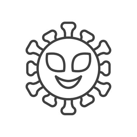 Alien virus face line icon. linear style sign for mobile concept and web design. Alien coronavirus emoticon outline vector icon. Symbol,   illustration. Vector graphics