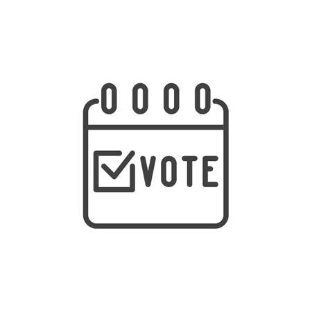 Election vote calendar line icon. linear style sign for mobile concept and web design. Voting day calendar page outline vector icon. Symbol, logo illustration. Vector graphics Vectores