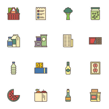 Food shop filled outline icons set, line vector symbol collection, grocery linear colorful pictogram pack. Signs logo illustration, Set includes icons as shopping basket, invoice, fruit package, milk