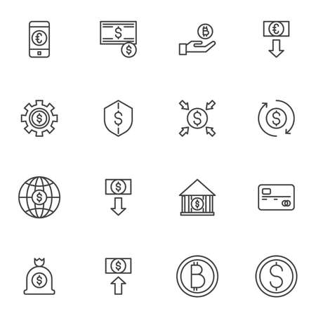 Digital money line icons set, outline vector symbol collection, linear style pictogram pack. Signs, logo illustration. Set includes icons as bitcoin cryptocurrency, dollar rate increase, credit card