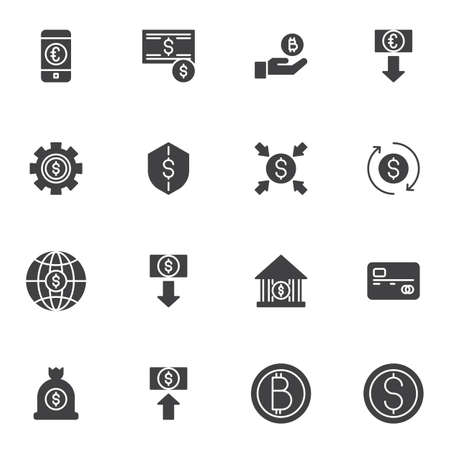 Digital money vector icons set, modern solid symbol collection, filled style pictogram pack. Signs, logo illustration. Set includes icons as bitcoin cryptocurrency, dollar rate increase, credit card