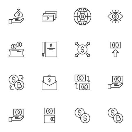 Currency Money line icons set, outline vector symbol collection, linear style pictogram pack. Signs, logo illustration. Set includes icons as euro and dollar money exchange, bitcoin cryptocurrency Ilustração