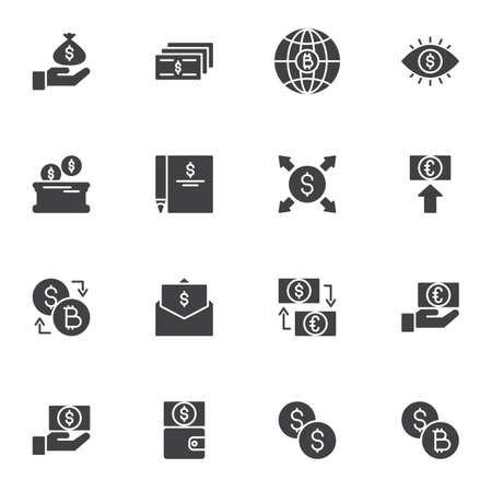 Currency Money vector icons set, modern solid symbol collection, filled style pictogram pack. Signs, logo illustration. Set includes icons as euro and dollar money exchange, bitcoin cryptocurrency Ilustração