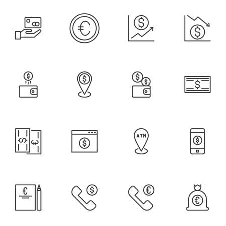 Money line icons set, outline vector symbol collection, linear style pictogram pack. Signs, logo illustration. Set includes icons as dollar rate increase, atm location, exchange gps point, mobile bank Illustration