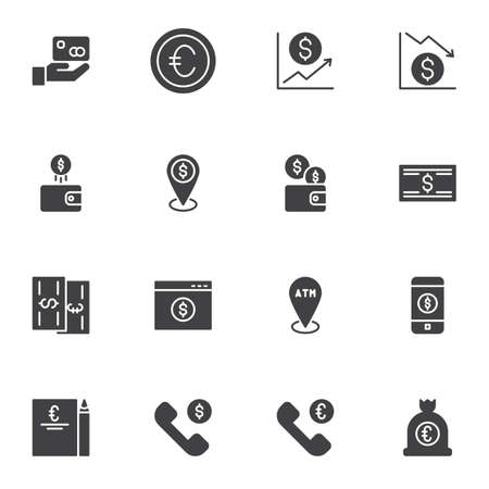 Money vector icons set, modern solid symbol collection, filled style pictogram pack. Signs, logo illustration. Set includes icons as dollar rate increase, atm location, exchange gps point, mobile bank