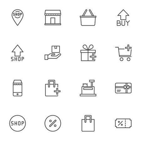 Online shopping line icons set, outline vector symbol collection, e-commerce linear style pictogram pack. Signs, logo illustration. Set includes icons as shopping cart, purchase basket, delivery, sale Ilustração