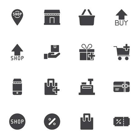 Online shopping vector icons set, modern solid symbol collection, e-commerce filled style pictogram pack. Signs, logo illustration. Set includes icons as shopping cart, purchase basket, delivery, sale Ilustração