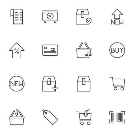 Shopping and e-commerce line icons set, outline vector symbol collection, linear style pictogram pack. Signs, logo illustration. Set includes icons as delivery box, shopping basket, credit card, buy