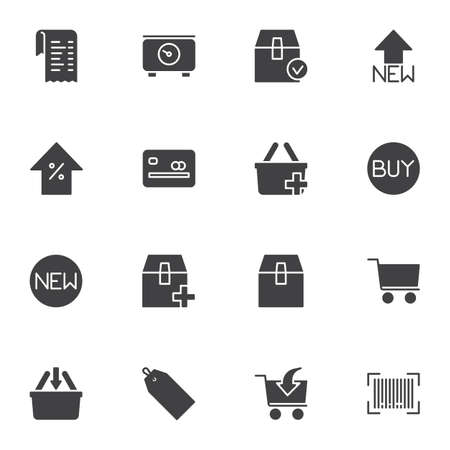 Shopping and e-commerce vector icons set, modern solid symbol collection, filled style pictogram pack. Signs, logo illustration. Set includes icons as delivery box, shopping basket, credit card, buy Ilustração